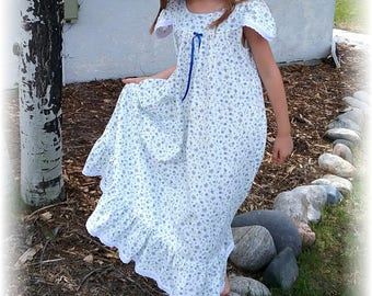 Nightgown-Size 6/Girls, 100% Cotton-Knit, Summer pajamas, Light Blue Gown,Butterflies //READY to SHIP// Visit shop for other available sizes