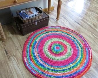 "Pink rug/custom rug/Lilly Pulitzer inspired/pink and green rug/kids playroom rug/""braided rug""/crochet rug/crochet rag rug/nursery decor"