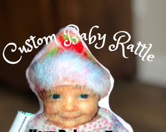 Custom Baby Rattle - Your Baby as Toy - Baby Photo Rattle - Baby Plush Teething Toy - Baby Shower Gift