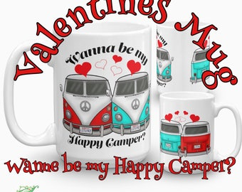 Valentines Mug - Two Cars in Love Coffee Cup - VW Camper Van Gift Idea - Couples Car Love Mug - Valentines Day Gift for Her - Volkswagen Bus