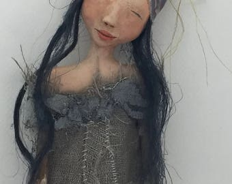 Folk Art Doll wall hanging cloth and clay wood ooak sculpted #2