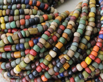 Indonesian Rustic Tribal Matte Seed Beads - Jewelry Making Supply (~5mm) Autumn Mix - 21 or 42 Inches