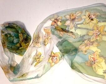 Silk scarf- Daffodils- yellow green scarf, hand painted silk scarf, silk scarf collection, long scarf floral motive, 18x72 inch silk chiffon
