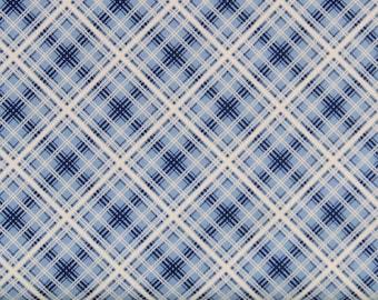 Blue and White Diagonal Plaid 100% Cotton Quilt Fabric, Hi-De-Ho!, a Kim's Cause Collection by Maywood Studios, MAS9141-B