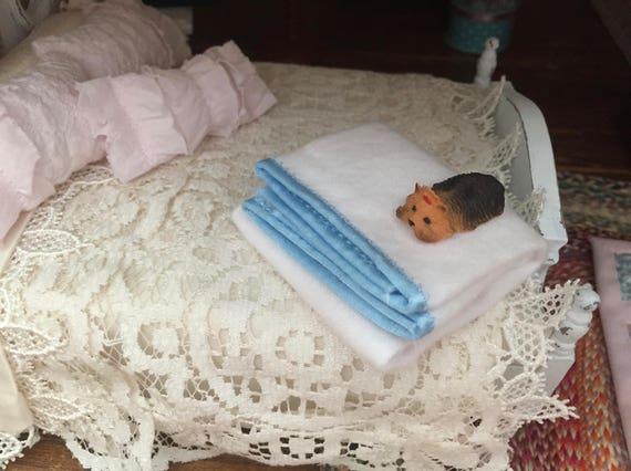 "Miniature White Blanket With Blue Satin Trim, Dollhouse Miniatures, 1:12 Scale, Dollhouse Accessory 8""x6"" Mini Blanket"