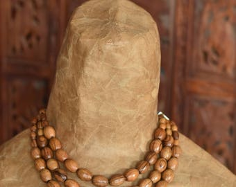 Ethnic Olive Wood Bead and African Trade Bead Necklace