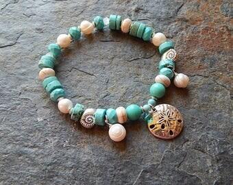 Under the sea bracelet - freshwater pearl seashell bracelet - sand dollar - nautilus shell - turquoise stacking bracelet - mermaid jewelry