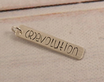 revolution hand stamped sterling silver, gold or rose gold charm necklace - layering necklace - (r)evolution - feminist jewelry