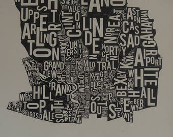 Columbus Neighborhood Map | Typography Map | Ohio | Wall Art | 20.5 x 28.25