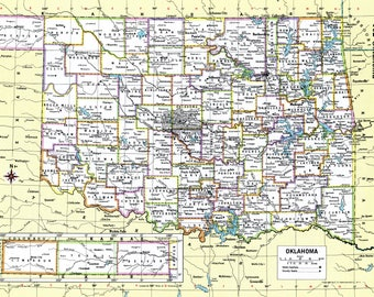 Oklahoma atlas map Etsy