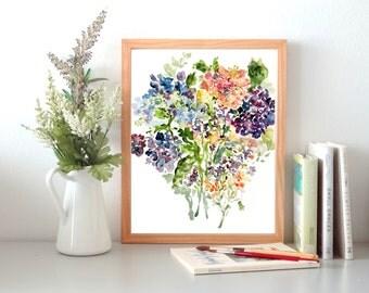 Hydrangea Cluster, Watercolor Hydrangea, Watercolor Flowers, Fine Art Print, 8x10, 11x14