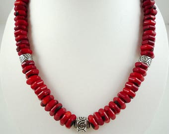 Red Coral Necklace Red Bamboo Coral Necklace Bright Red Coral Necklace Chunky Coral Necklace Silver Red Coral Strand Short Coral Necklace