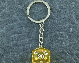 Yellow D20 Keychain, D20 keychain, Dice Keychain, Dungeons n Dragons Keychain, Pathfinder, Dungeouns and Dragons Keychain