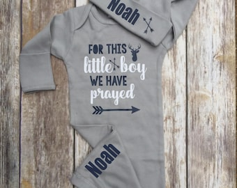 Baby Boy Coming Home Outfit, Religious Baby Boy Outfit,  Personalized Baby Boy Outfit, For This Little Boy we have Prayed, Coming Home