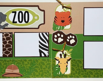 Zoo scrapbook page - Scrapbook layout Zoo - 12x12 premade scrapbook page - 12x12 scrapbook page zoo - Premade zoo scrapbook page