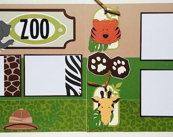 Zoo scrapbook page - Scrapbook layout Zoo - 12x12 premade scrapbook page - 12x12 scrapbook page zoo - Premade zoo scrapbook page