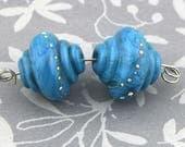 Turquoise Treasure Enameled Lampwork Bead Pair