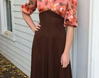 Vintage 70s Hippie Dress Maxi Long AS IS Brown S