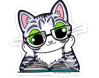Reading Is Fundamental - Kitty Sticker - Die Cut Vinyl Sticker Weather resistant UV Protected
