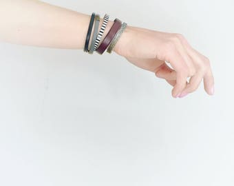 CIVAL Collective - Connie   Simple Leather Bracelet   Leather Cuff   Black and White Stripe   Minimalist Design   Easy Magnet Clasp