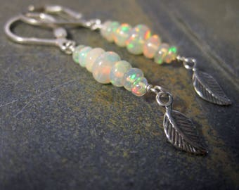 Silver Opal Lever Backs - Welo Opal Earrings with Dangle Leaf Charm