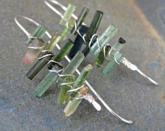 Raw Tourmaline Sticks - Sterling Silver Wire Thread Earrings