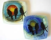 Three Birds Small Dish Made with Recycled Windows