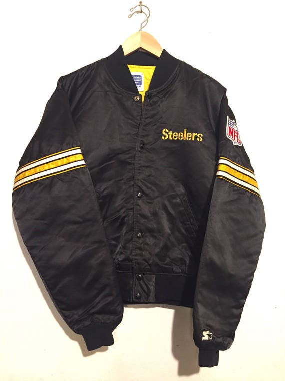 90s Vintage Pittsburgh Steelers Starter Satin Jacket large