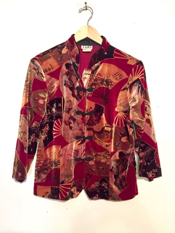 90s Vintage Asian Style Velvet Jacket