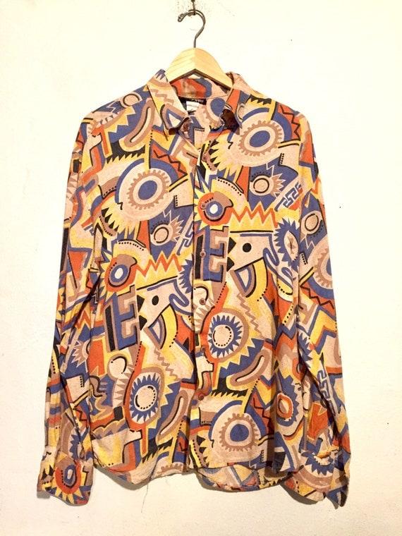 90s Wild Pattern Button Up Shirt
