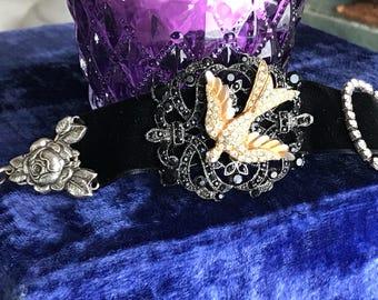 midnight swallow - bracelet black velvet vintage rhinestone bird art deco rose victorian gothic romantic statement, the french circus