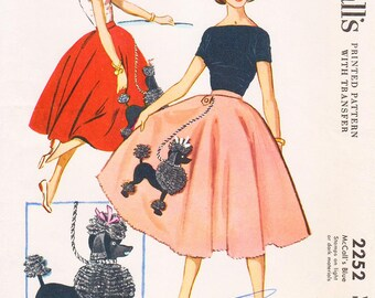 "Waist Sz 24 1/2"" - Vintage 1950s Skirt Pattern - McCall 2252 -  Junior's Three-Quarter Circle Skirt or Poodle Skirt - McCall's Patterns"