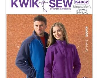 Sz S/M/L/Xl - Kwik Sew Jacket Pattern K4032 by Kerstin Martensson - Misses' or Men's Zip Front, High Collar Fleece Jacket in Two Lengths