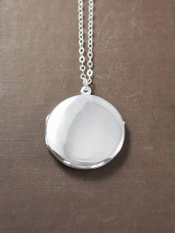 Modern Sterling Silver Locket Necklace, Contemporary Large Round Plain Polished Photo Pendant - Polished Disc