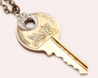 Key Pendant Necklace Key Necklace Master Key Necklace Key Jewelry Key Necklace Vintage Key Necklace Gold