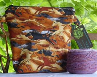 Mesa Horses (1) - Wedge - zippered, cosmetic, knitting/crochet project bag