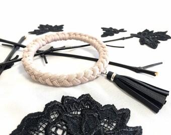 braided bracelet with tassel // cream tassel bracelet // crochet bangle bracelet // leather tassel bangle // crochet bracelet // cream cuff