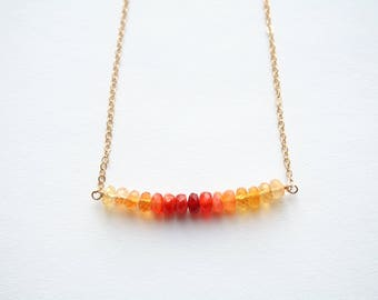 Fire Opal Necklace, Opal Necklace, October Birthstone, October Birthday