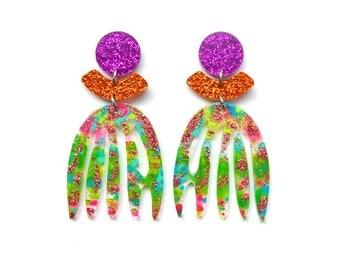Laser Cut Earrings Copper Earrings Green Acrylic Earring Statement Earrings Stud Dangle Leaf Earrings Resin Earrings Glitter Earring