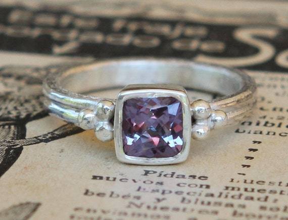Hand Forged 1.21 ct Cushion Cut Color Change Alexandrite Sterling Silver Ring Sz 7