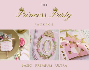 princess party package - 1st pink princess party - pink princess party set - princess party decorations - princess party collection