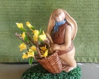 "hand sculpted polymer clay ""Forsythia"" boy rabbit figurine"