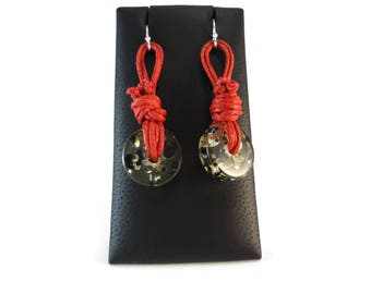Salmon Knotted Cord Earrings Clear Resin, Salmon Knot Earrings Clear and Black Earrings 925 Ear Wires, Reddish Pink Earrings Knot Jewelry
