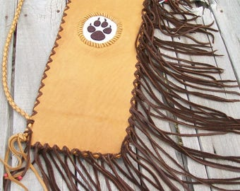 Pipe bag with beaded wolf paw, leather pipe bag , chanupa bag , wolf paw totem bag , fringed pipe bag , ceremonial pipe bag