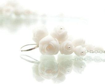 Long Dangle Flower Earrings ∙ White  Porcelain Peony  Cluster Earrings ∙ Sterling Silver Dangle Drop  Earrings ∙ Bridal  Wedding Jewelry