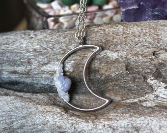 Chalcedony Moon Necklace GRAPE AGATE, Crystal Necklace, Quartz Jewelry, Crescent Moon Jewelry, Wiccan Jewelry, Pagan Necklace, Stone Pendant