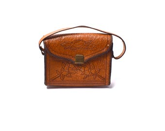 Brown Leather Hand Tooled Leather Purse