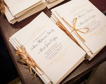 Gold Wedding Programs, Church Programs, Wedding Program Booklets, Catholic and Jewish Program- Gold Flourish Wedding Program - 8 Page SAMPLE