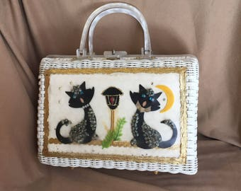 Vintage 60's White Handbag, White Woven ATLAS Princess Charming, Top Handle, 50's Retro Summer, Cat Novelty Bag, Lucite, Rockabilly Vegan