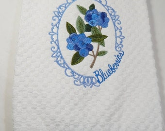 Kitchen Towel,  Embroidered Blueberry Towel,  Hand Towel, Terry Towel, Blueberry Decor